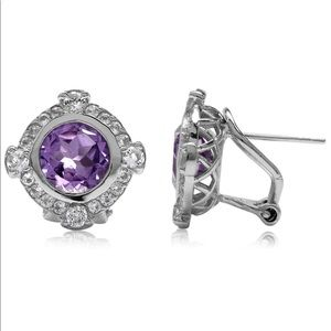 3.4ct. Natural Amethyst Omega Earrings